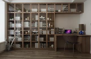 现代简约三居装修书柜图片