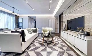 现代北欧风二居装修客厅效果图