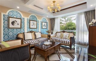 美式混搭别墅装修沙发背景墙图片