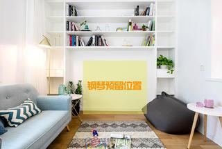 110㎡老房改造客厅改造后书架设计