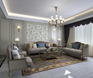 大户型法式风格家沙发背景墙图片