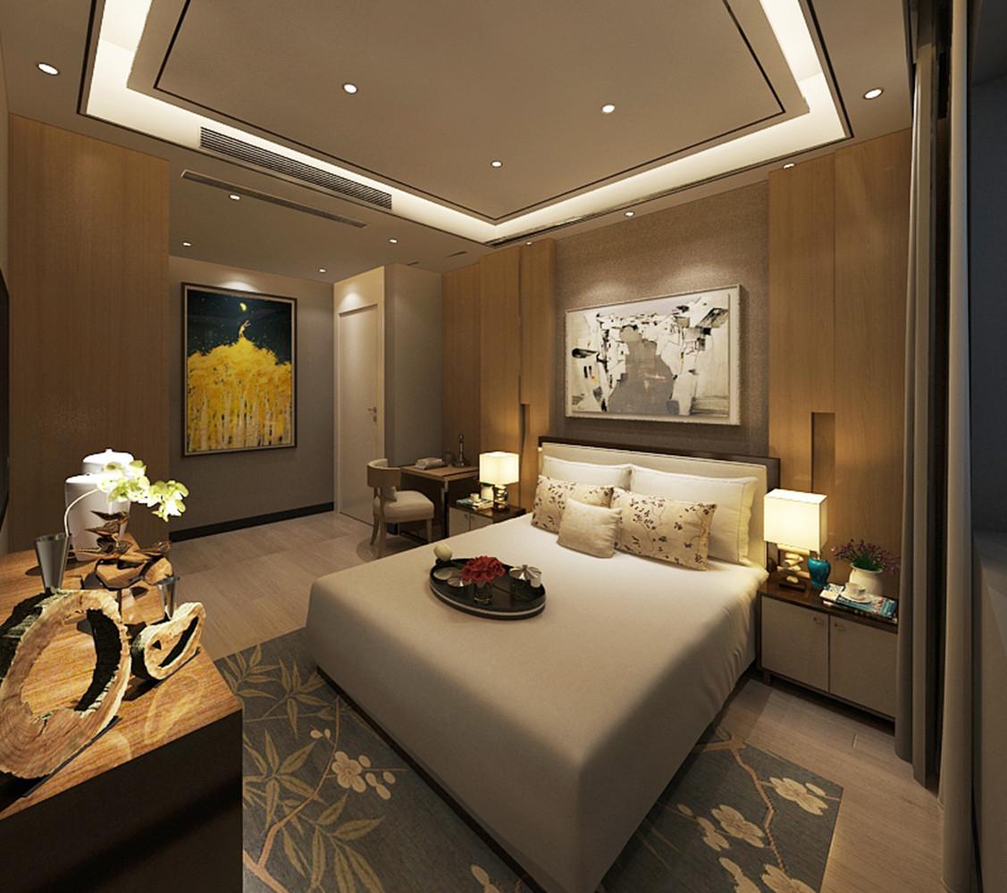 新中式别墅装修主卧效果图