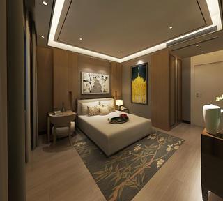 新中式别墅装修卧室背景墙图片