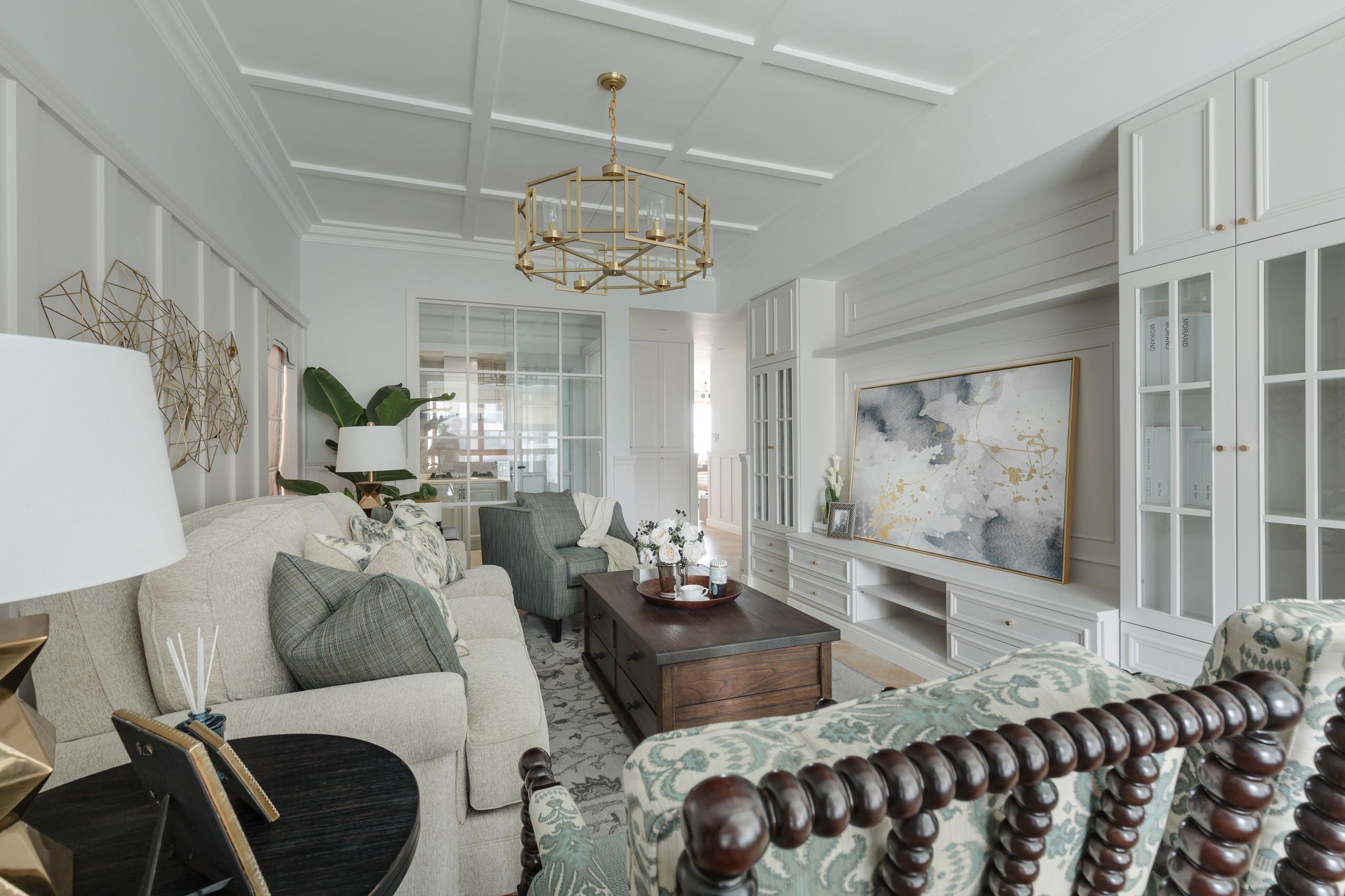 轻奢美式三居装修客厅效果图