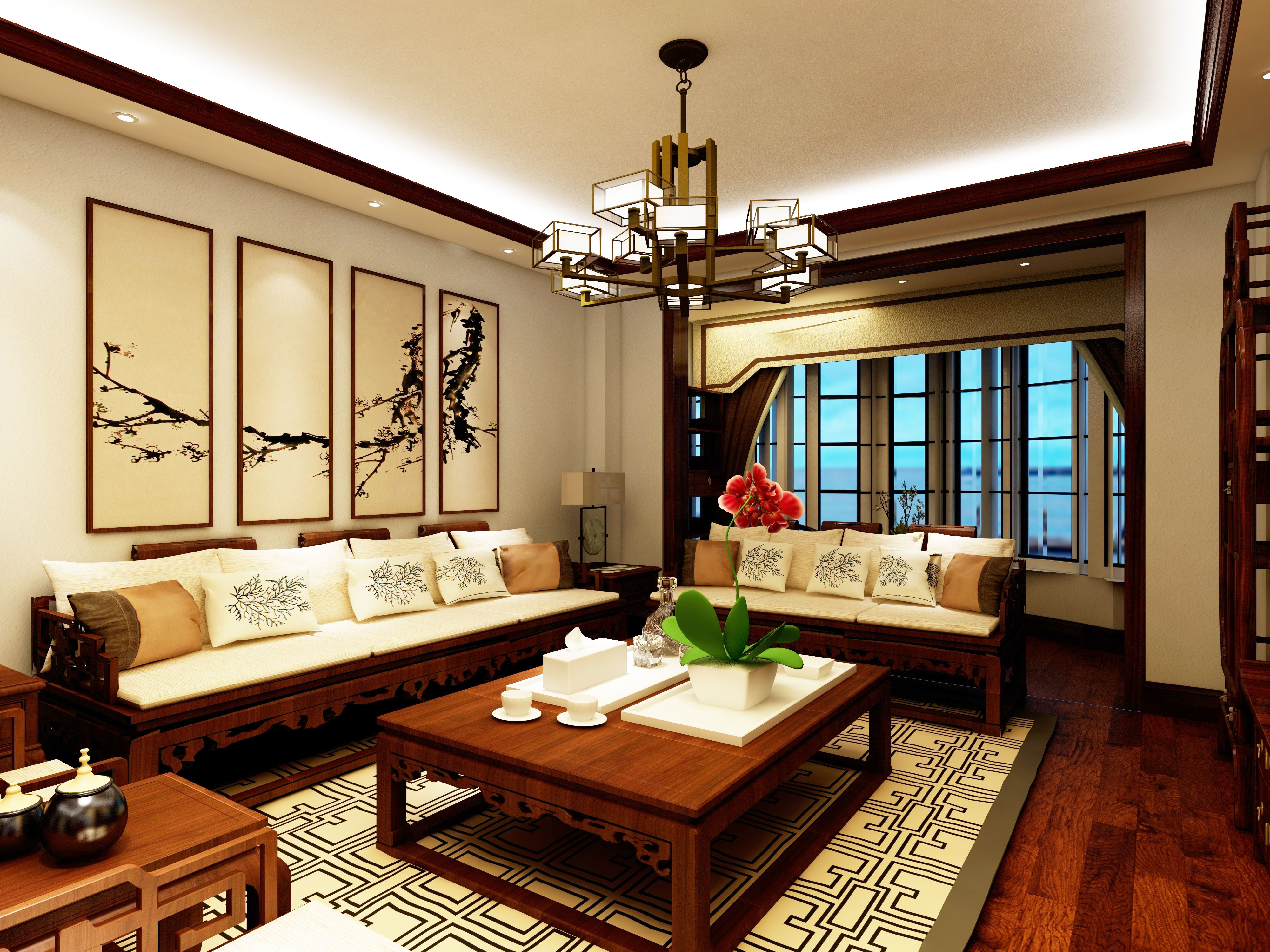 古色古香中式装修沙发背景墙图片