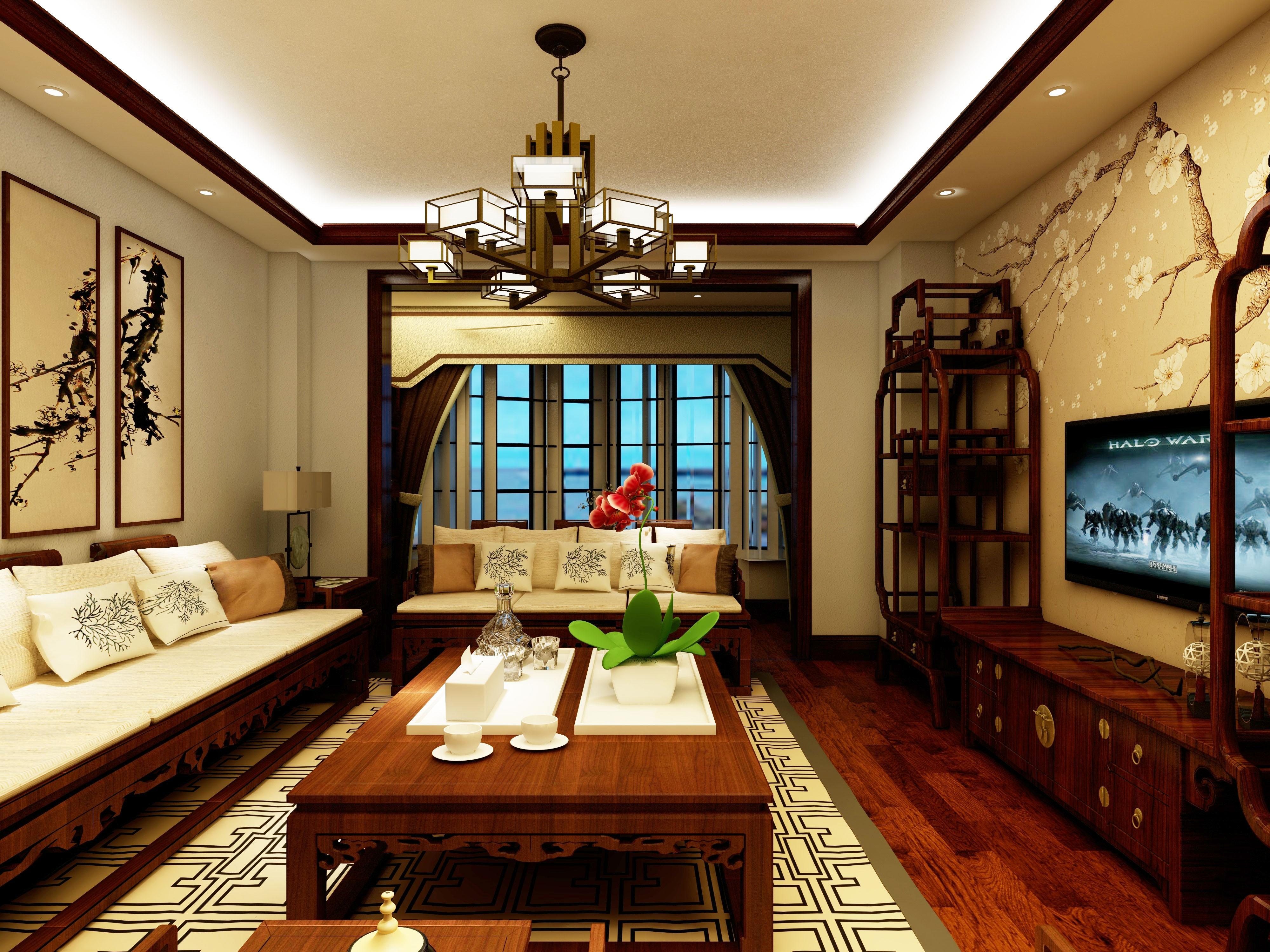 古色古香中式装修客厅效果图