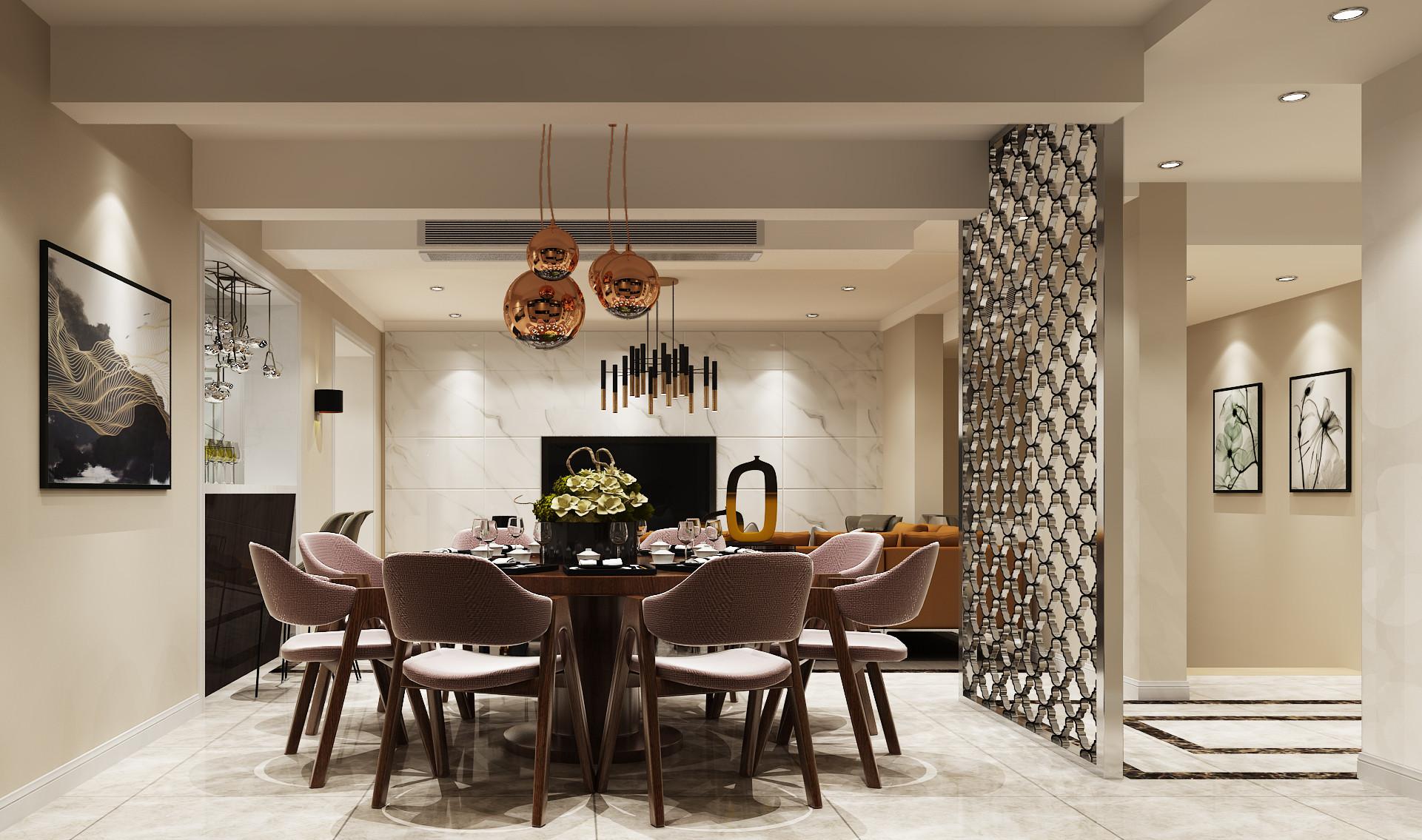 现代简约时尚装修餐厅设计效果图