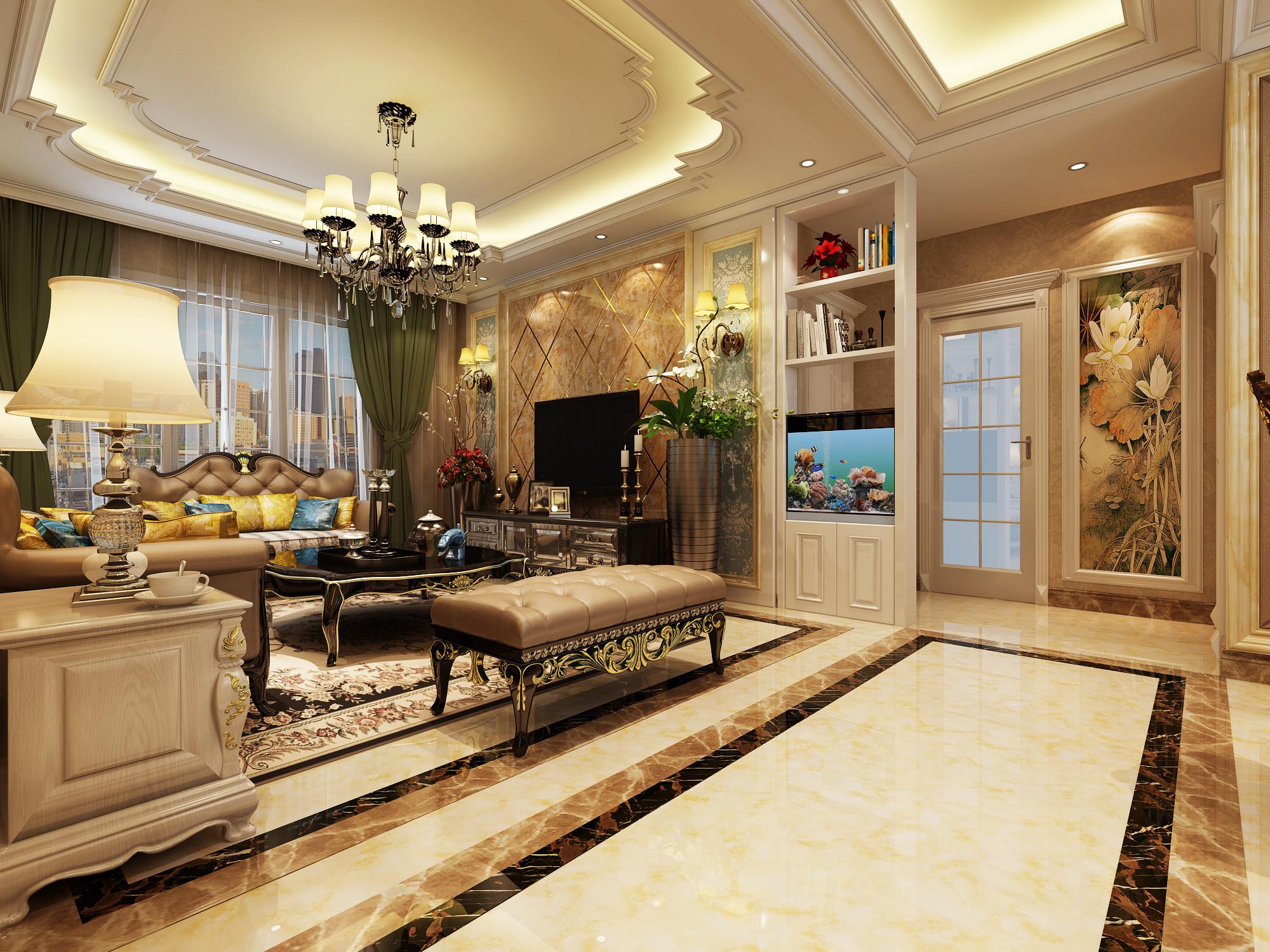 120平欧式装修客厅过道