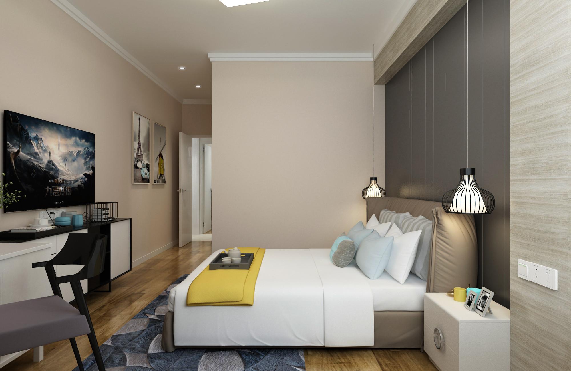 三居室现代简约设计主卧效果图