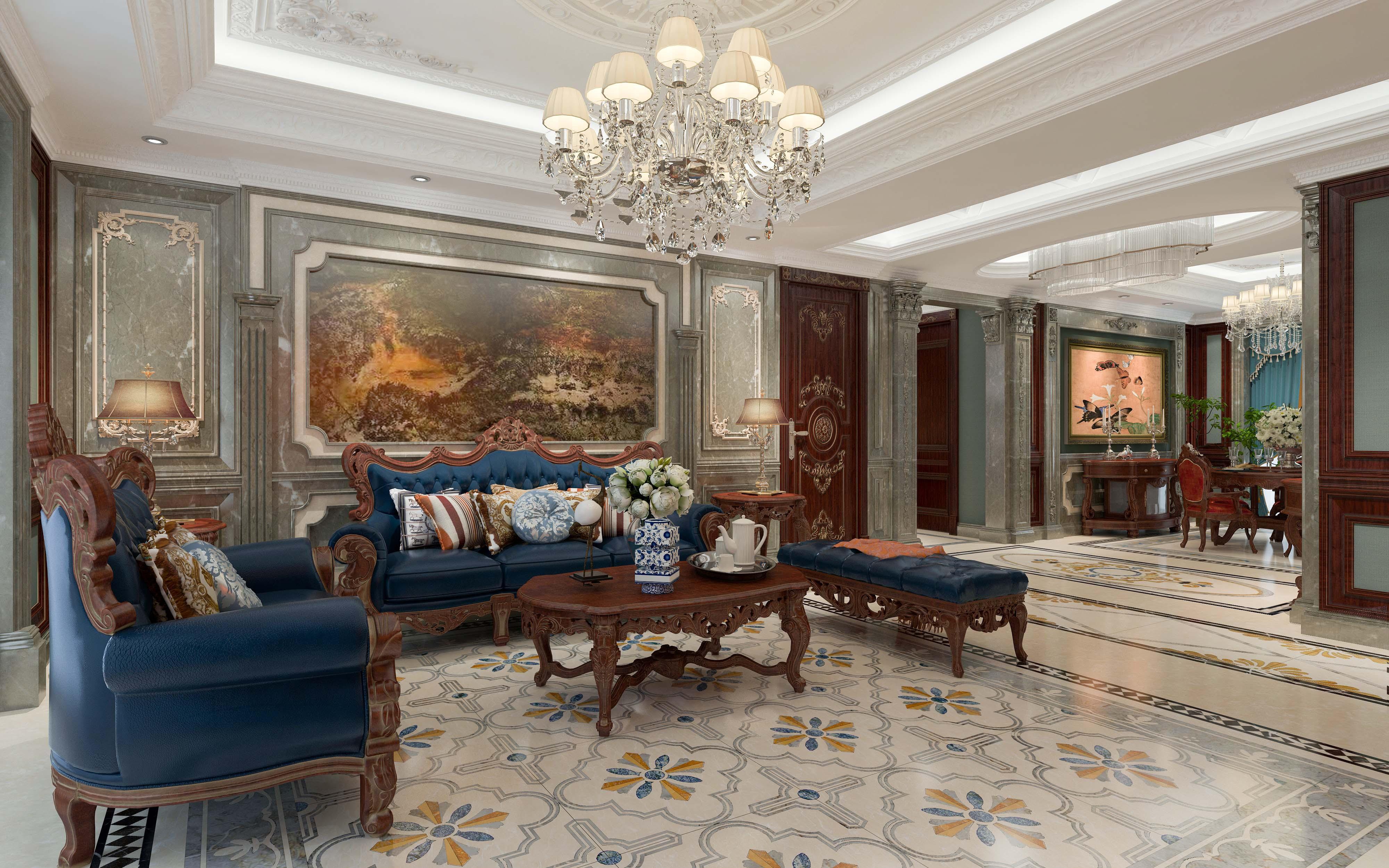 大户型美式风格家沙发背景墙图片