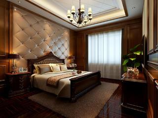 美式豪华四房装修床头软包图片