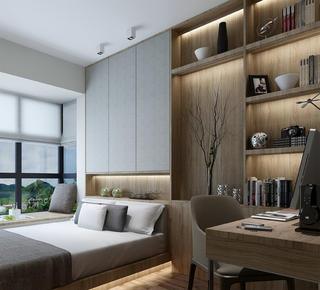 140平新中式设计书房效果图