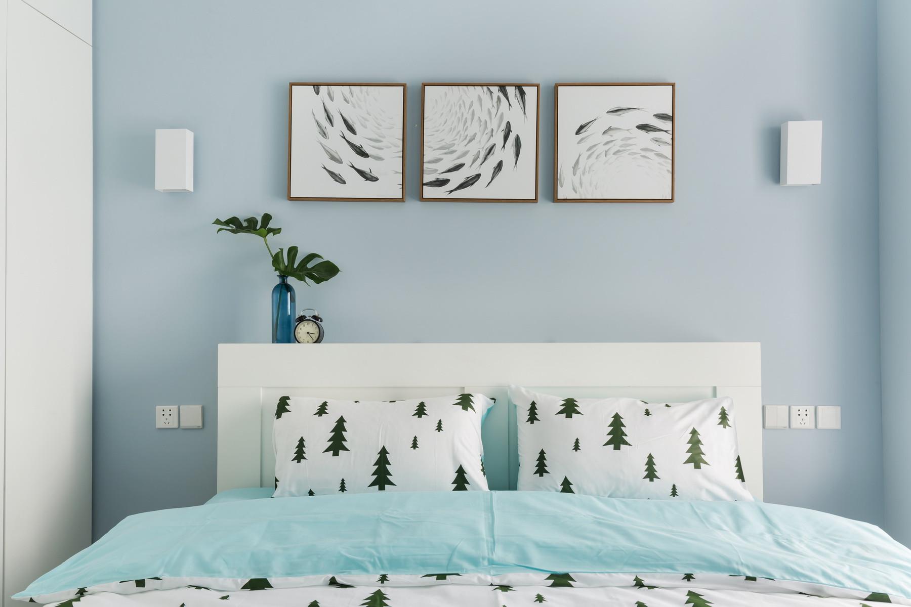 现代简约二居装修卧室效果图