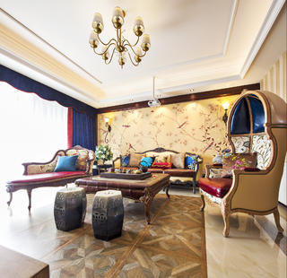 150㎡美式装修沙发背景墙图片