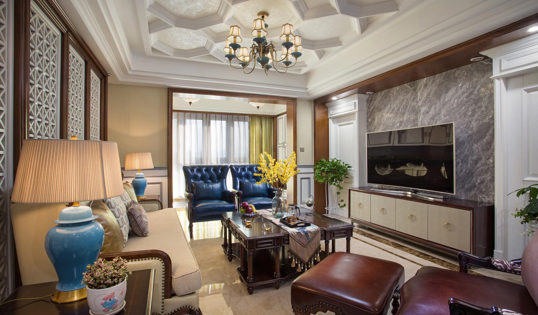 美式三居装修客厅效果图