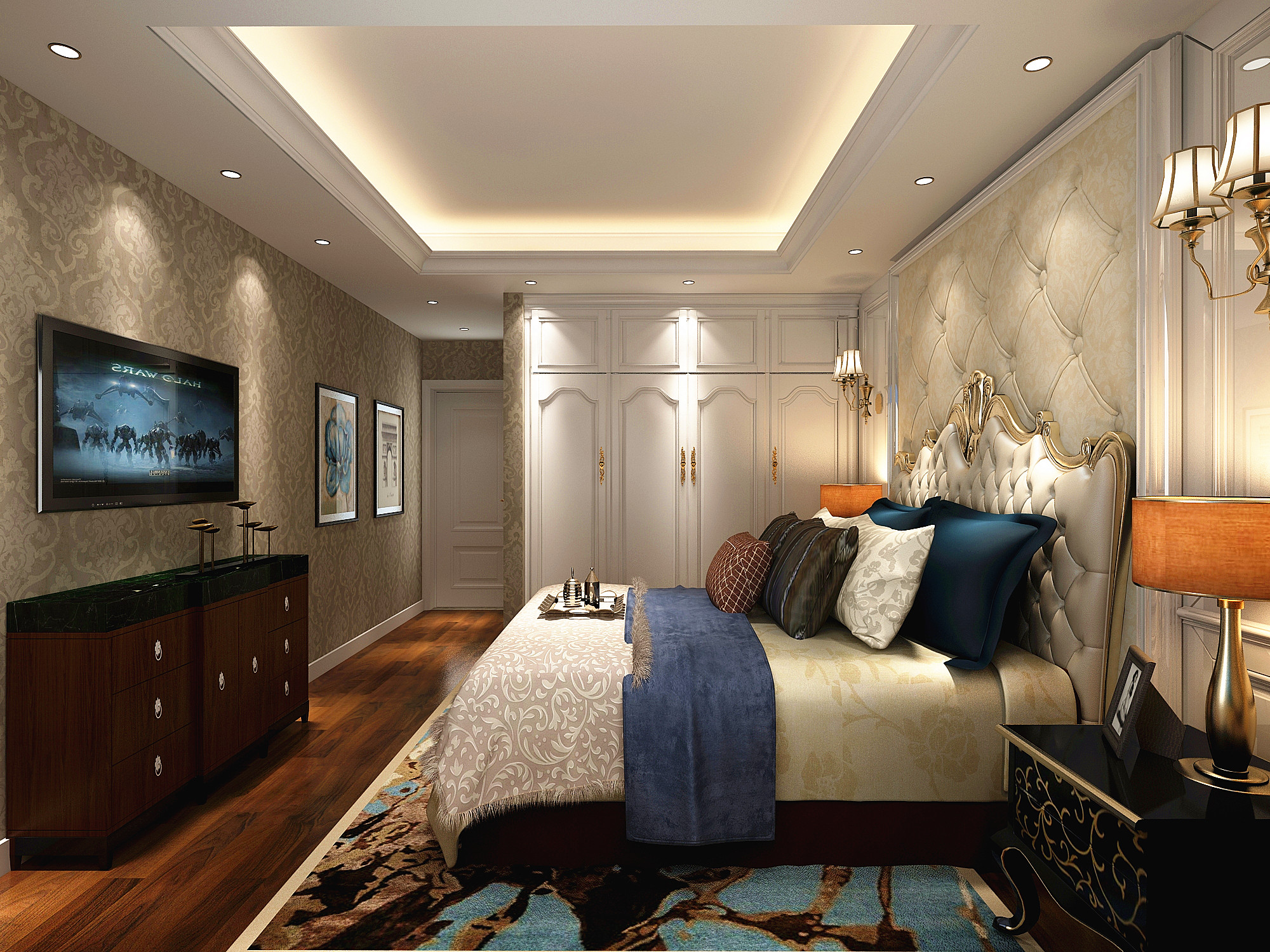 豪华欧式装修卧室背景墙图片