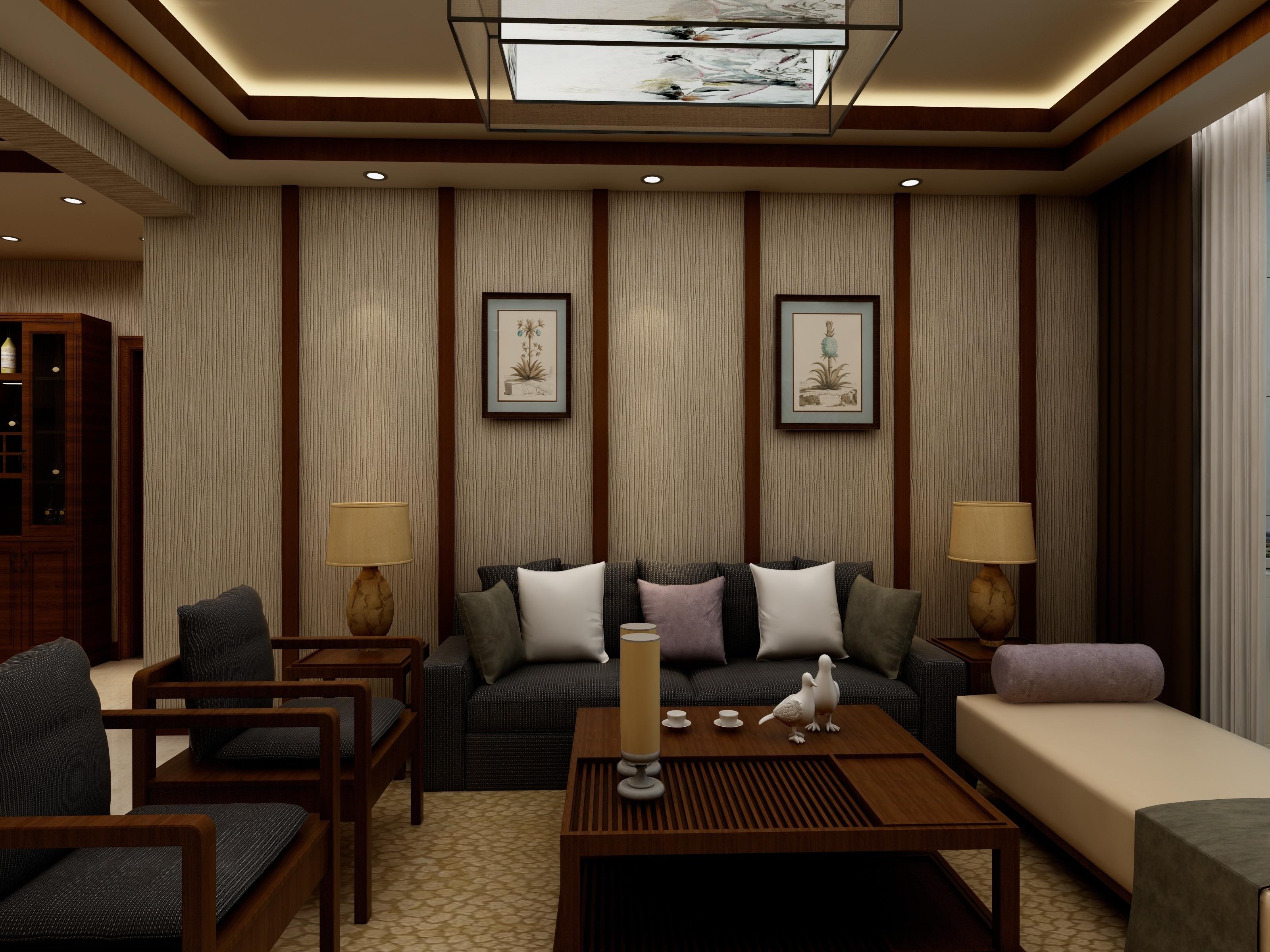 简约中式装修沙发背景墙图片