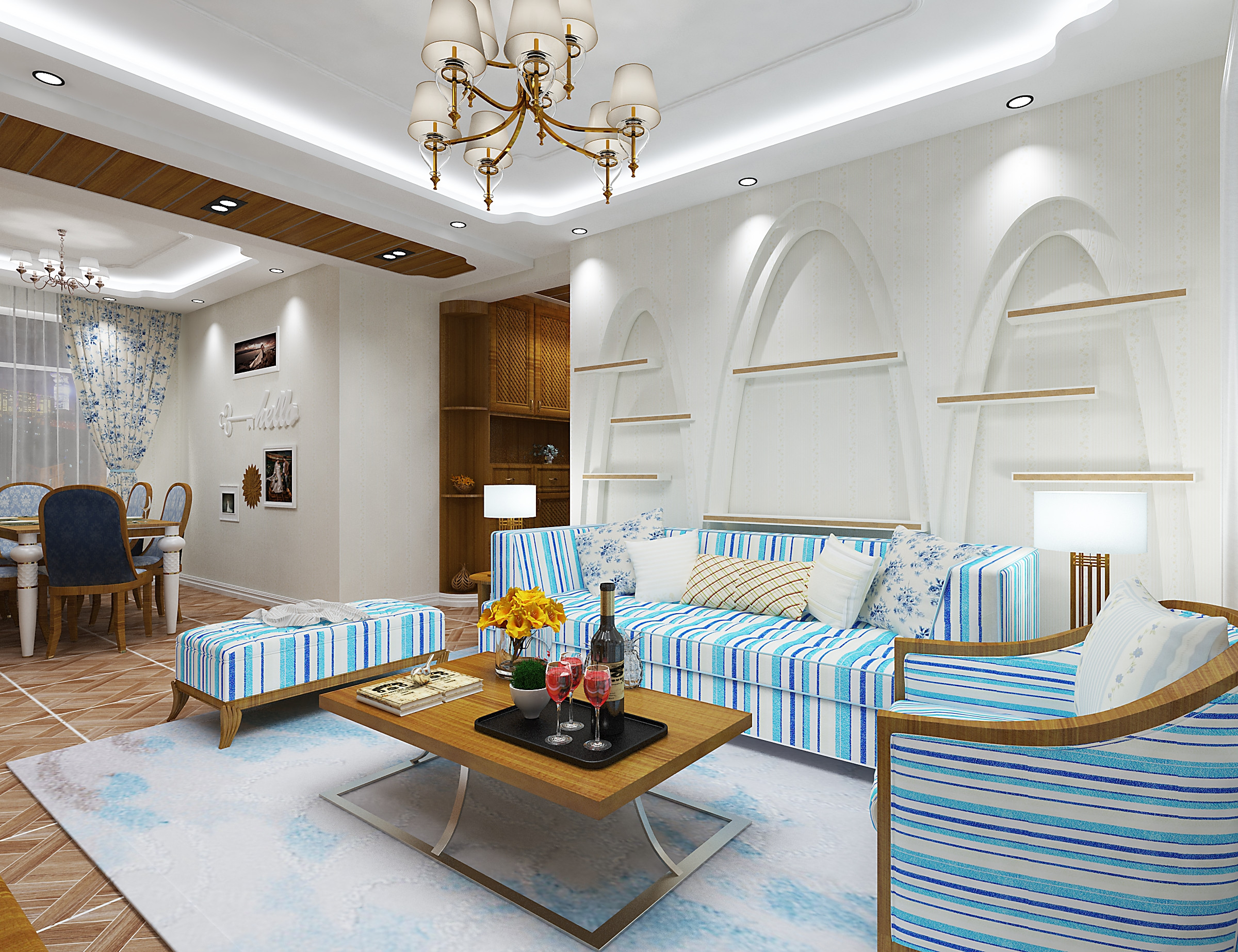 120㎡地中海风格装修沙发背景墙图片