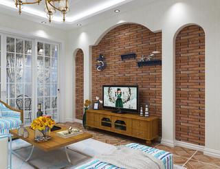 120㎡地中海风格装修电视背景墙图片