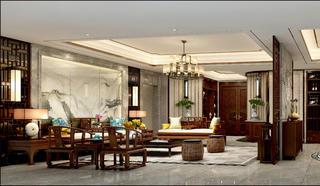 中式四居装修客厅效果图