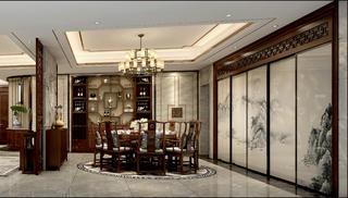 中式四居装修餐厅设计图