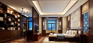 中式四居装修主卧效果图