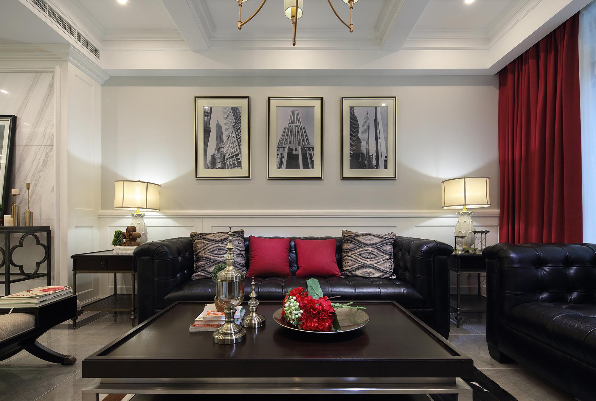 美式复古装修沙发背景墙图片