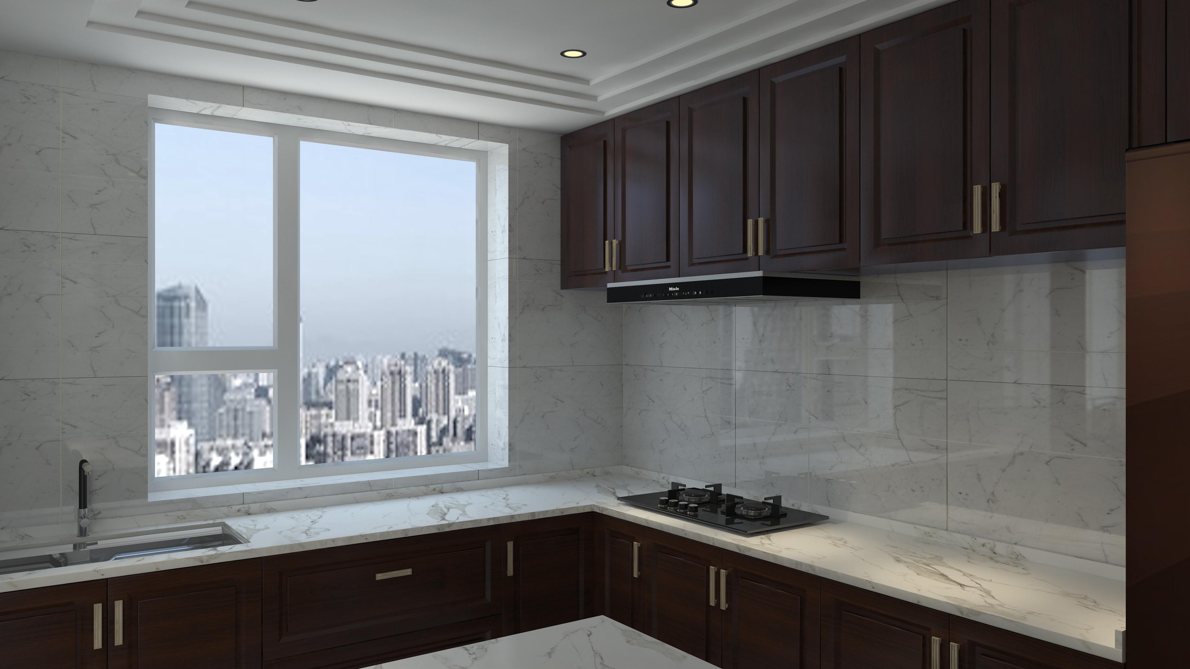 大户型中式装修厨房效果图
