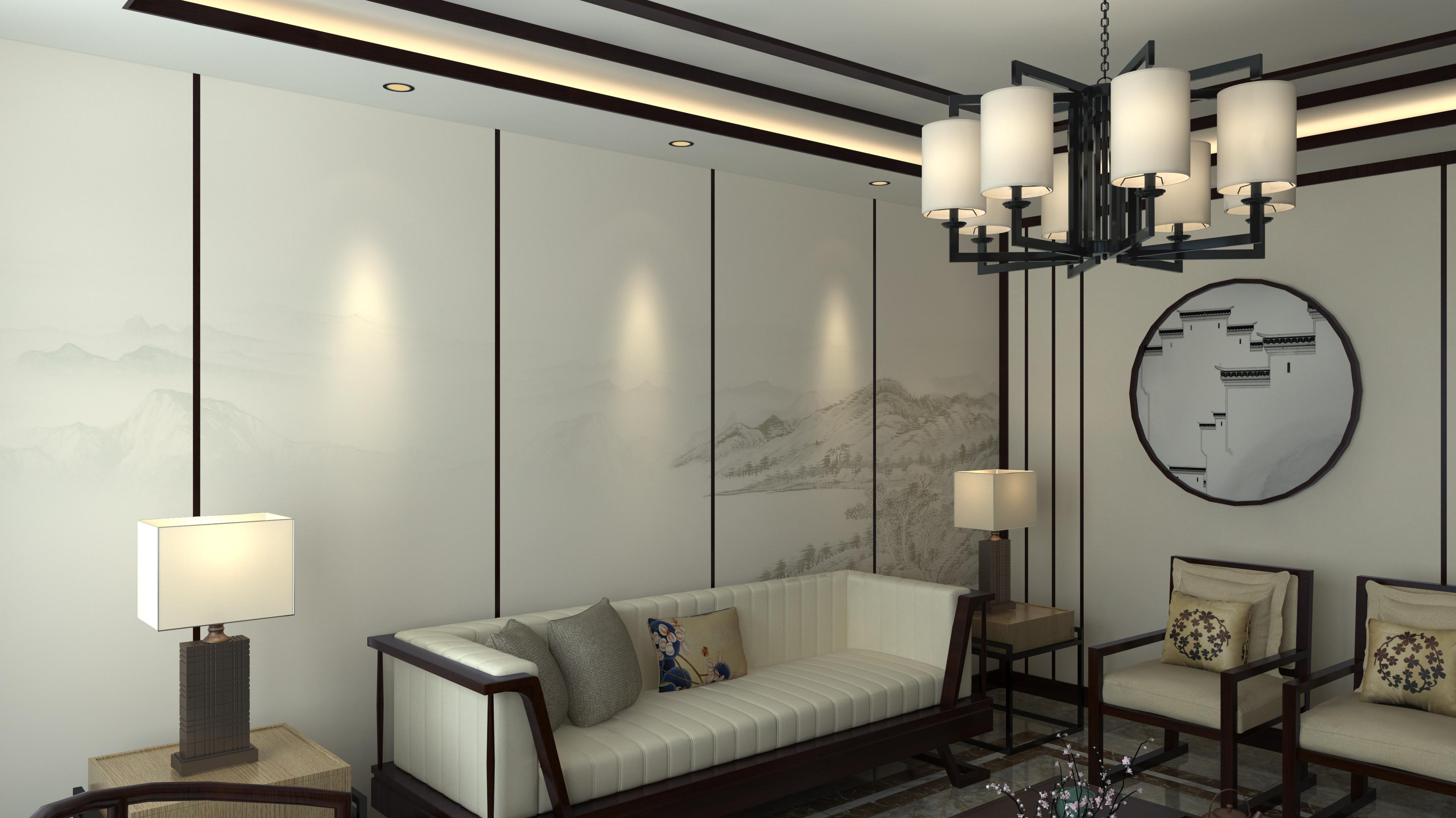 大户型中式装修沙发背景墙图片