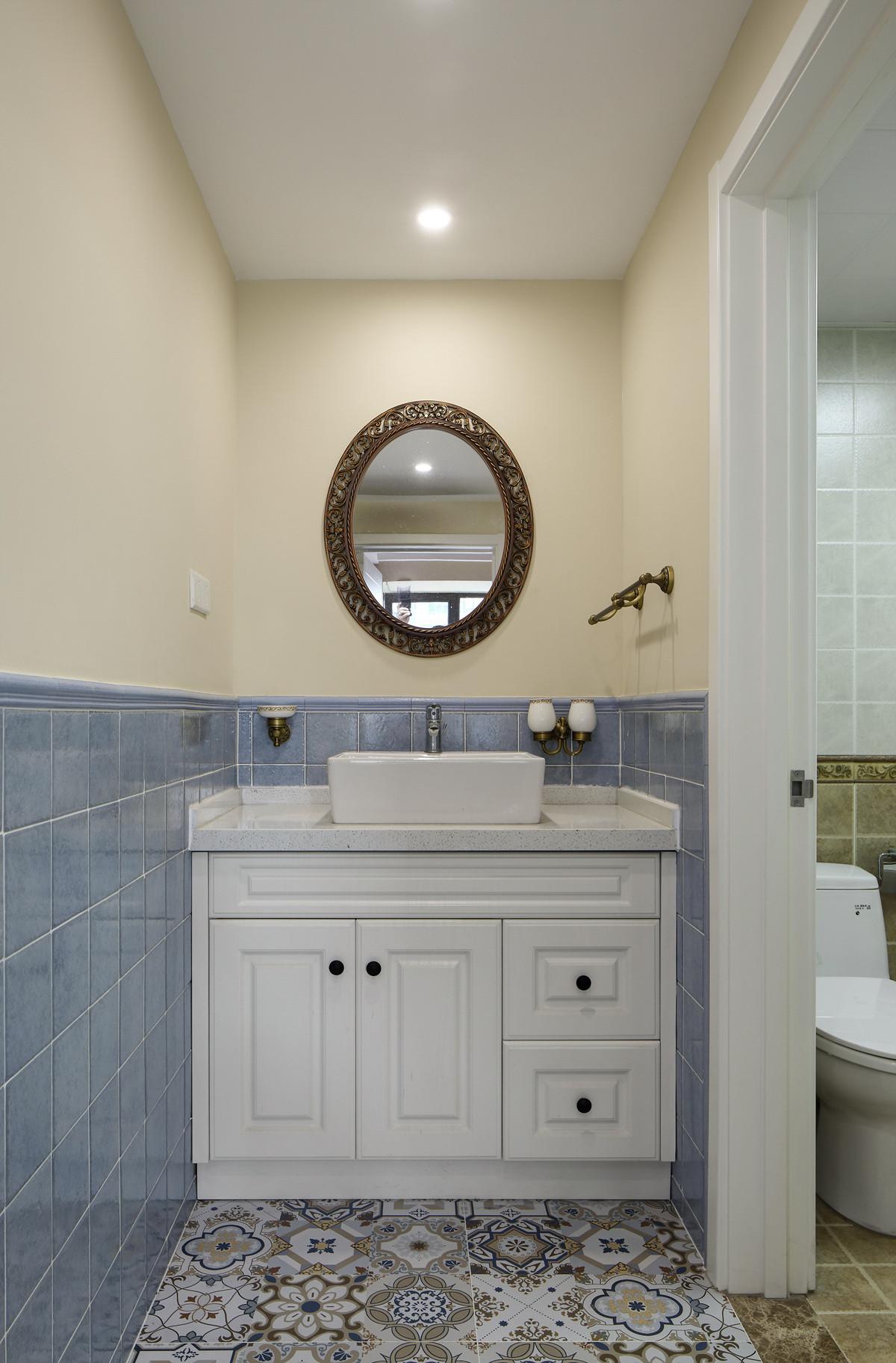 140平美式风格装修洗手台图片
