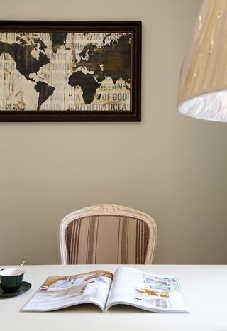 140平美式风格装修书桌背景墙图片