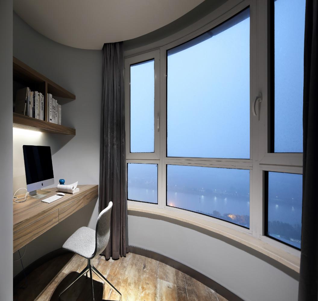 简约弧形空间装修书房效果图