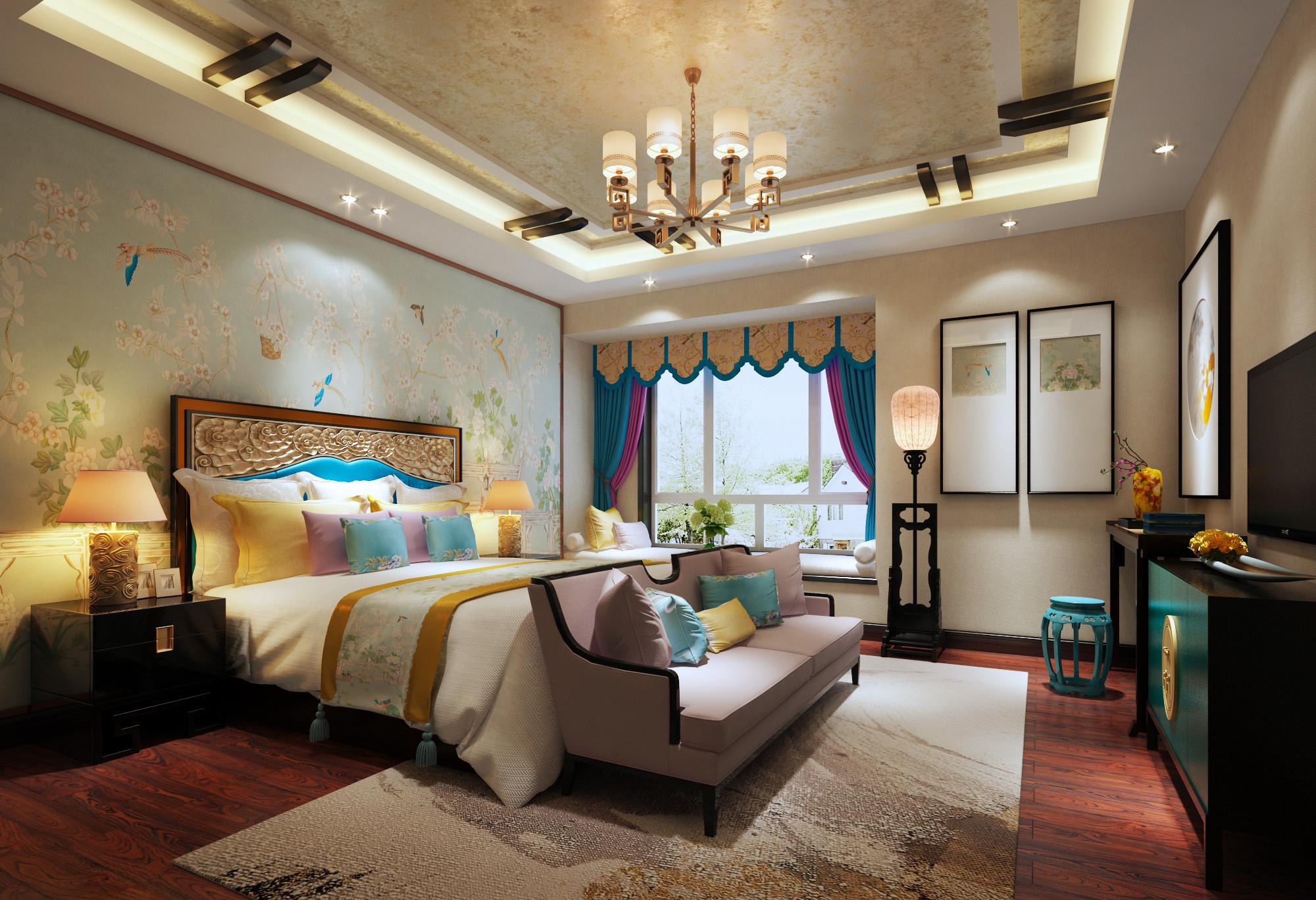 豪华新中式装修卧室效果图