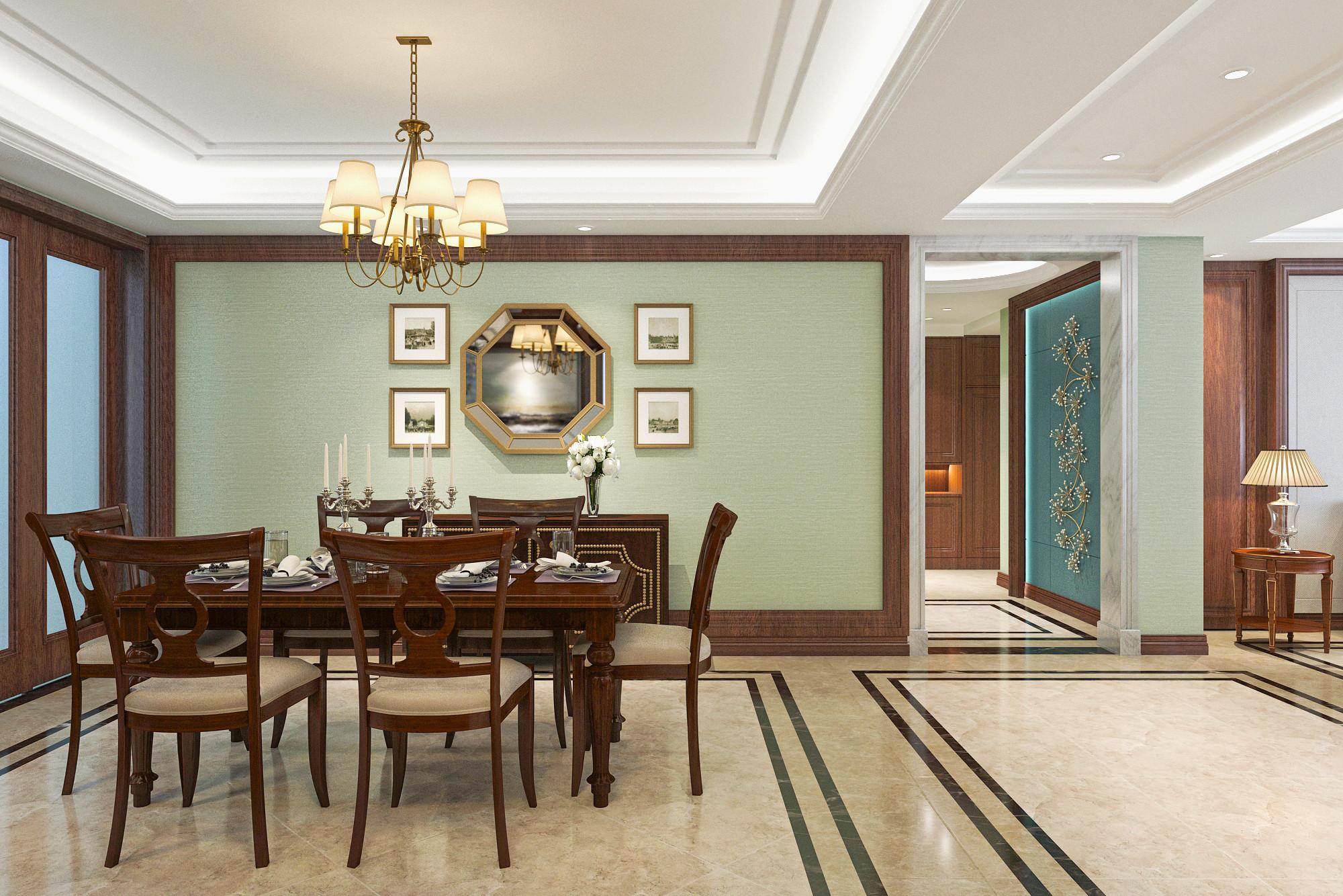 大户型美式风格装修餐厅背景墙图片