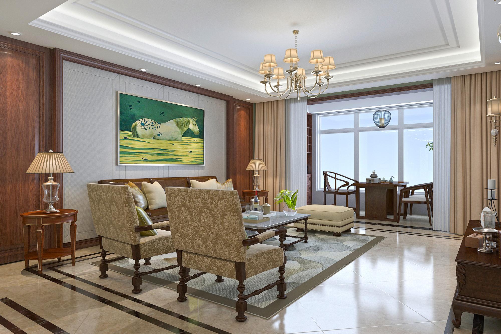 大户型美式风格装修客厅效果图
