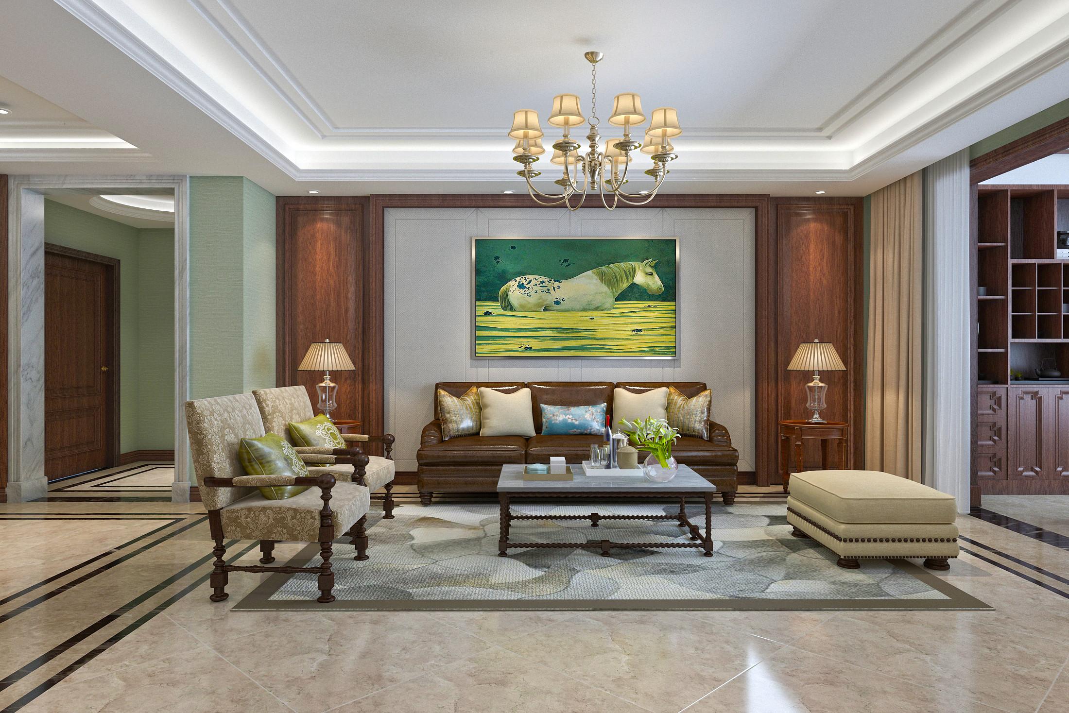 大户型美式风格装修沙发背景墙图片