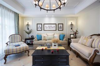 美式别墅装修沙发背景墙图片