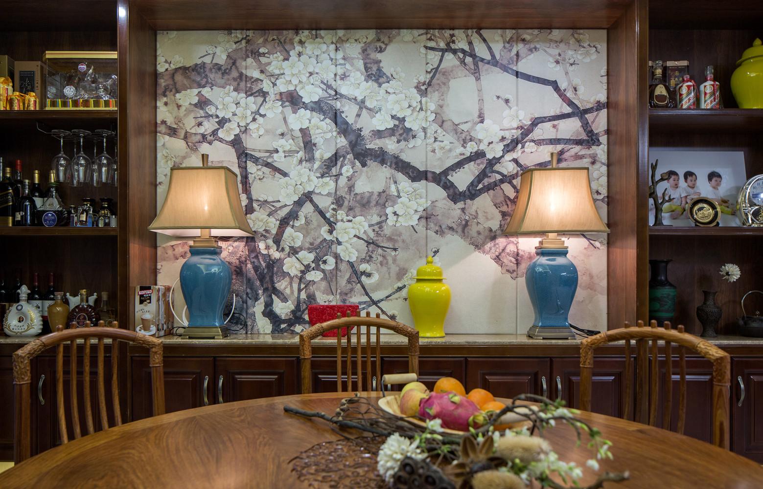 245㎡中式装修餐厅背景墙图片