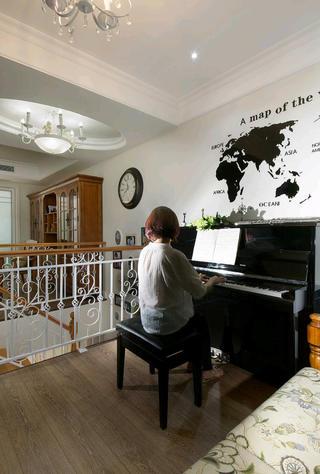 大户型休闲美式风装修钢琴区
