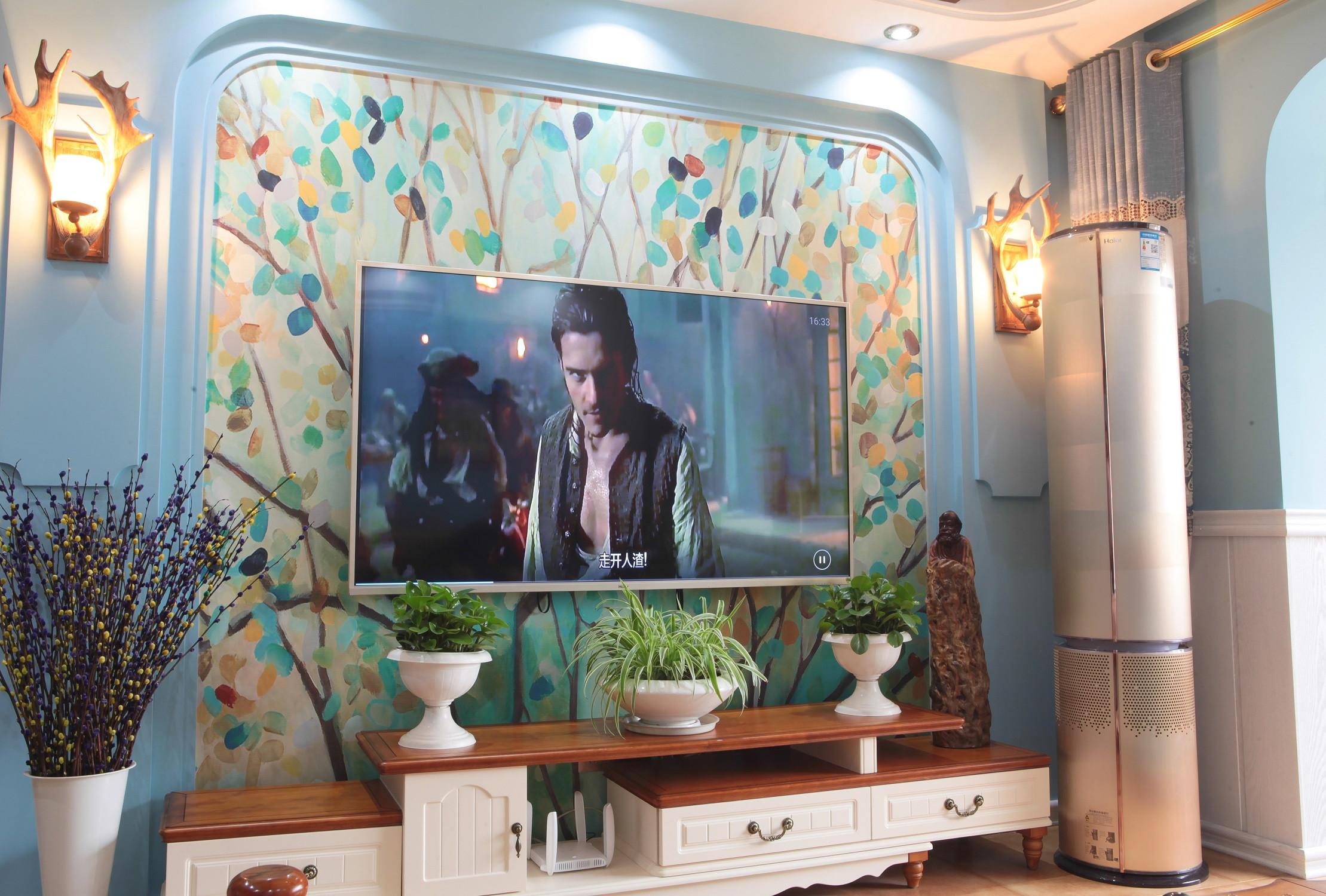 110㎡地中海风格装修电视背景墙图片