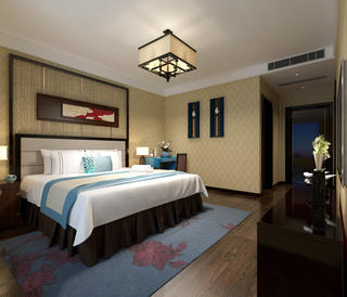 新中式四房装修主卧效果图