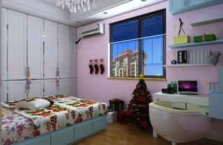 简欧三居装修儿童房背景墙图片