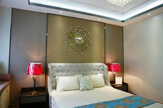 混搭三居室装修床头背景墙图片