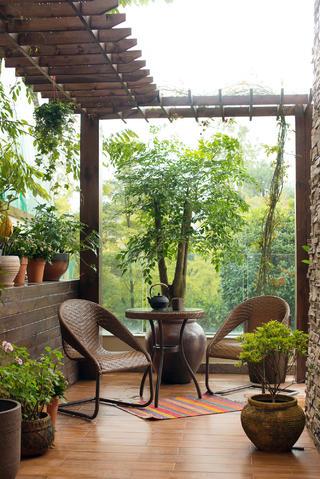 美式別墅裝修花園圖片