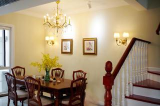 美式三居室装修餐厅实景图