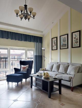 休闲美式装修客厅吊顶设计图