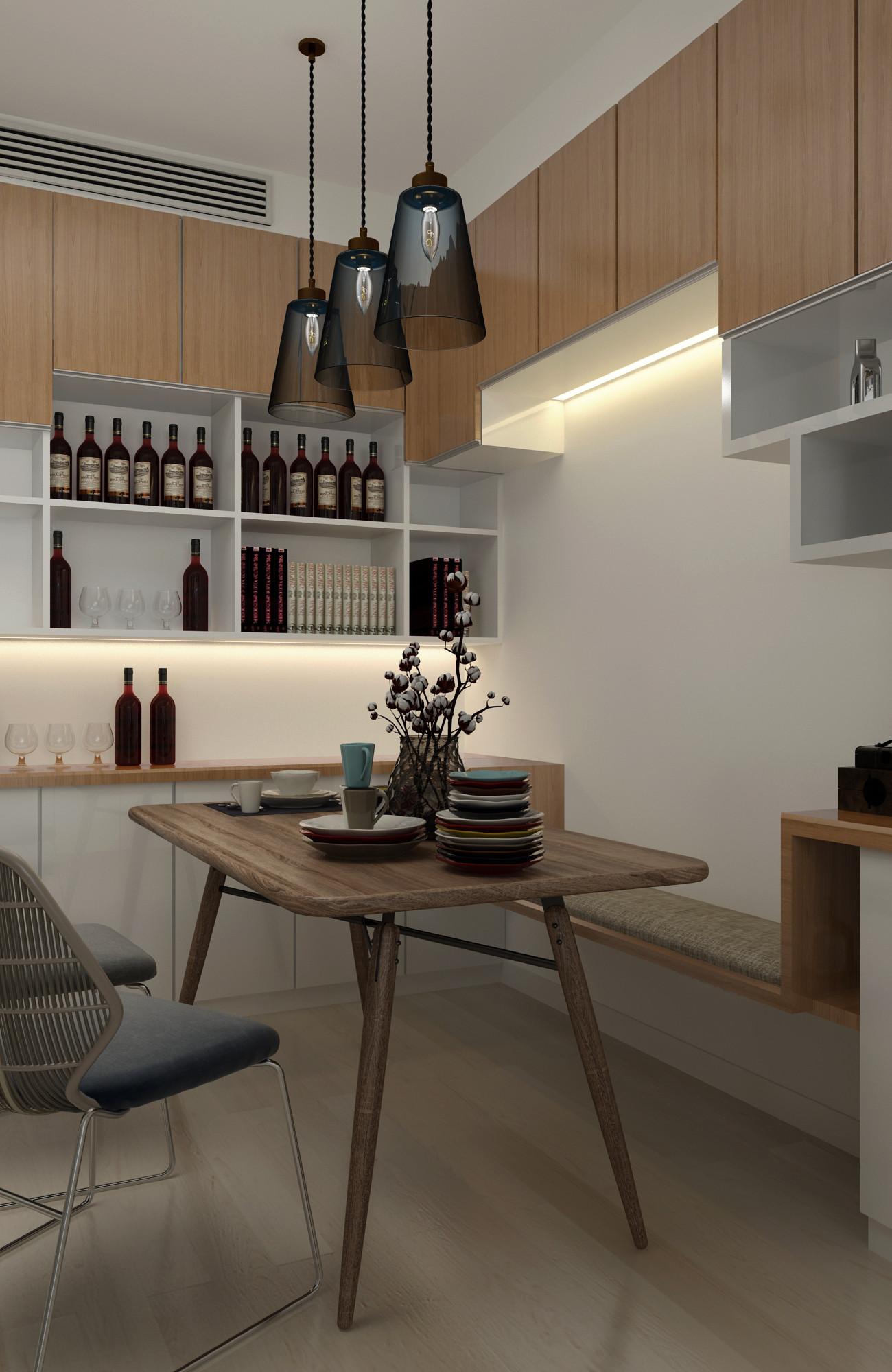100平三居室装修餐桌图片