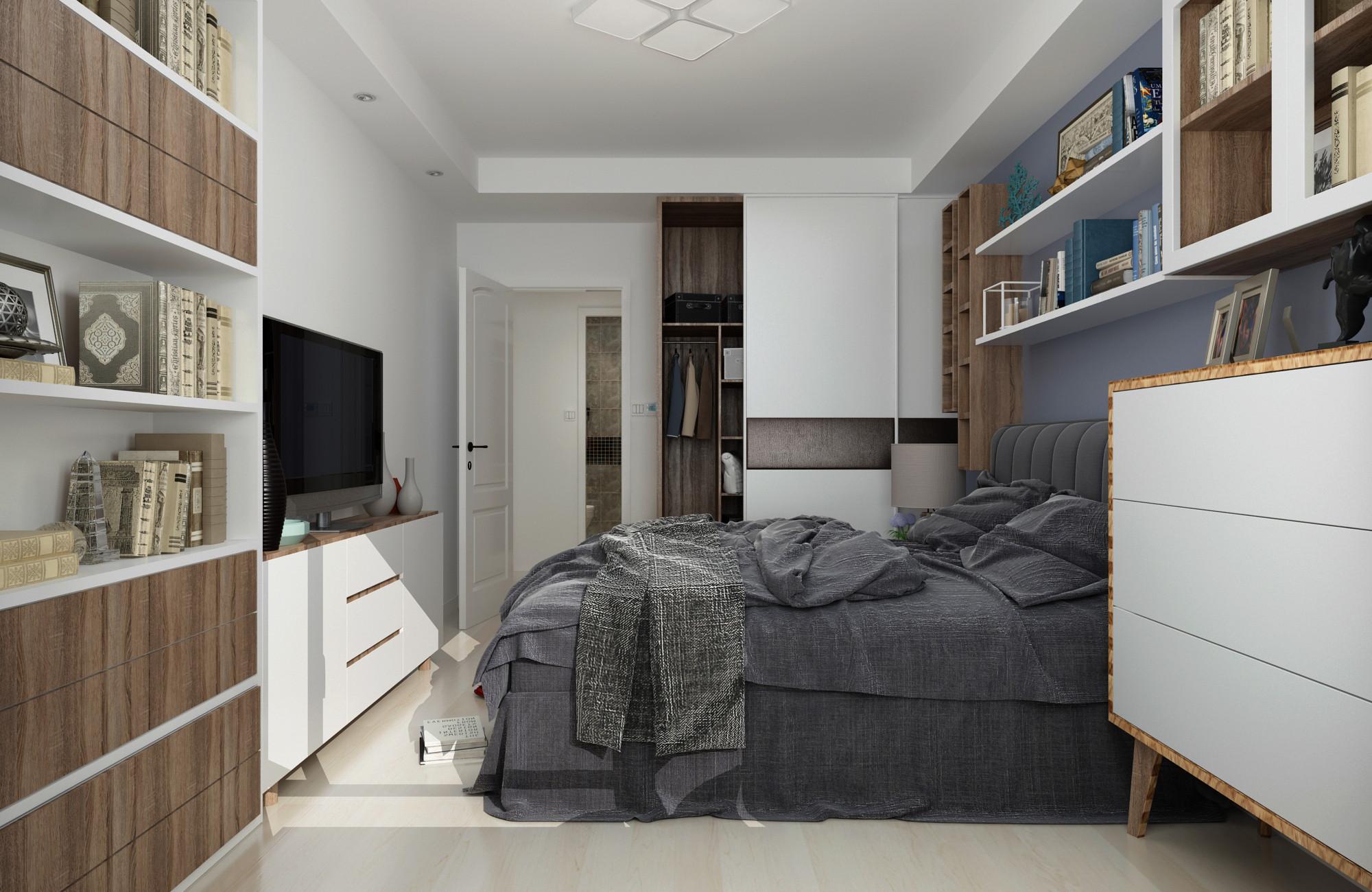 100平三居室装修书架图片