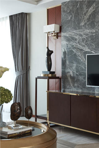 现代三居装修电视背景墙图片