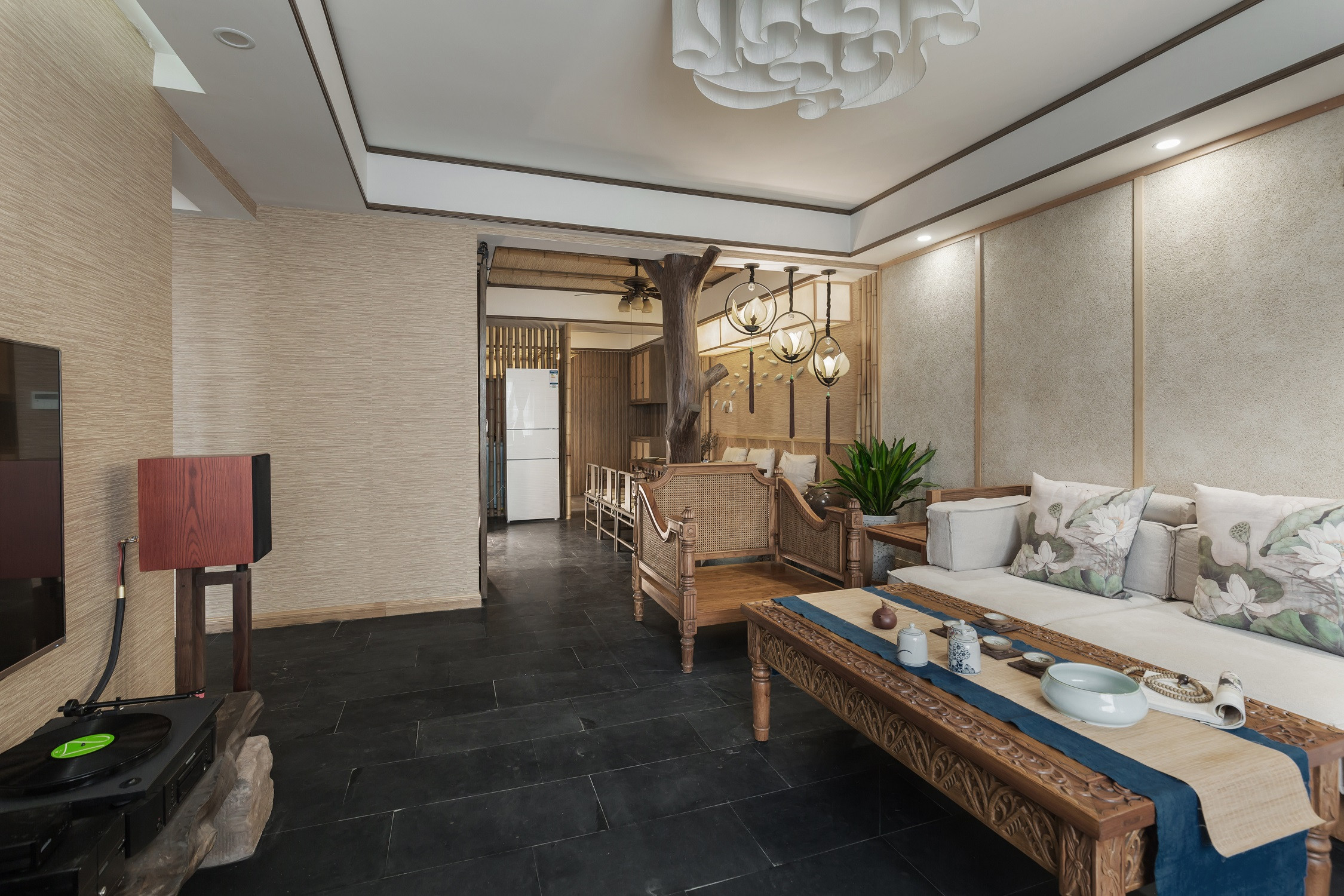 150平中式风格家客厅效果图